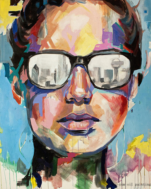 100% Handicraft Modern Abstract Cool Girl with Sunglasses Palette Knife Oil Painting War Art Pictures on Canvas for Living Room