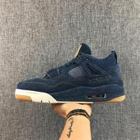 Jordan Air Ретро 4 Для мужчин баскетбольной обуви x LES голубой дышащий Для мужчин Мужская Баскетбольная обувь спортивные кроссовки открытый 41 46