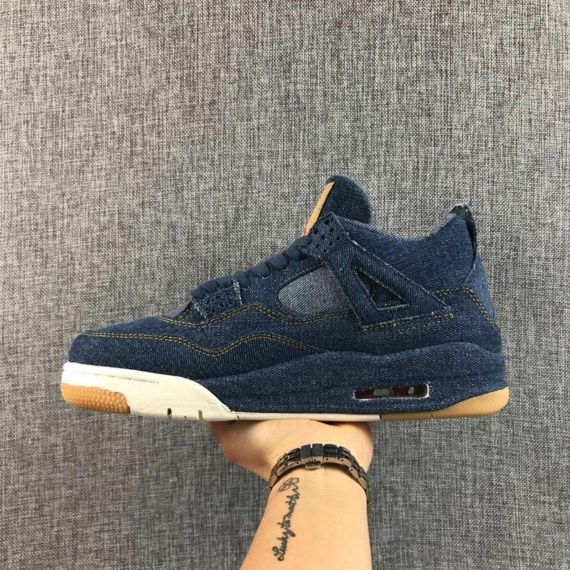 Jordan Air Retro 4 Men Basketball Shoes x LES blue Breathable Men's Basketball Shoes Sports Sneakers Outdoor 41-46 peak men athletic basketball shoes tech sports boots zapatillas hombres basketball breathable professional training sneakers