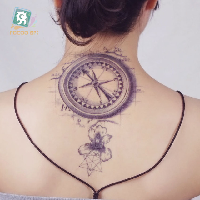 21X15cm Vintage Compass Large Tatoo Sticker Classical Black White Factory Design Cool Temporary Tattoo Stickers Taty Car Styling