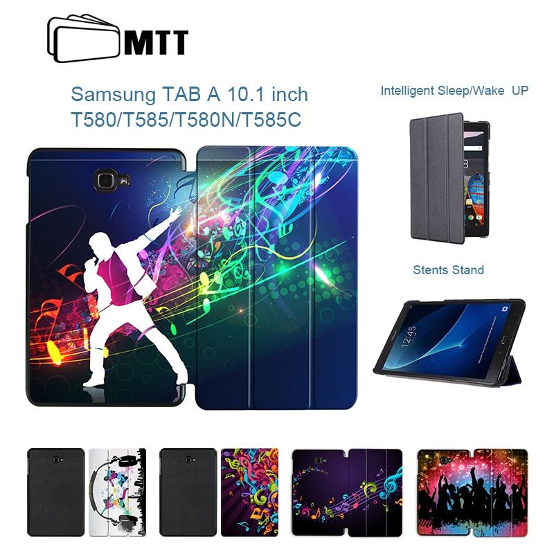 Mtt Musica Fashion Pu Custodia In Pelle Per Samsung Galaxy Tab Un A6 10.1 2016 T580 T585 Sm-t585 Tablet Copertura Della Cassa Del Basamento Del Pc Shell Funda