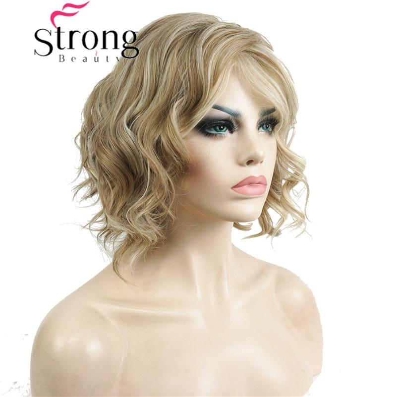 StrongBeauty Short Wavy Ombre Blonde High Heat Ok Full Synthetic Wig Women's Wigs