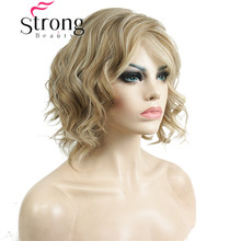 StrongBeauty Short Wavy Ombre Blonde High Heat Ok Full Synthetic Wig Womens Wigs