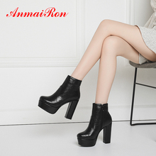 ANMAIRON Camel High Heel Boots Square Microfiber Round Toe Warm Fur Winter Women Shoes Rubber Basic Ankle Zip Blue Brown