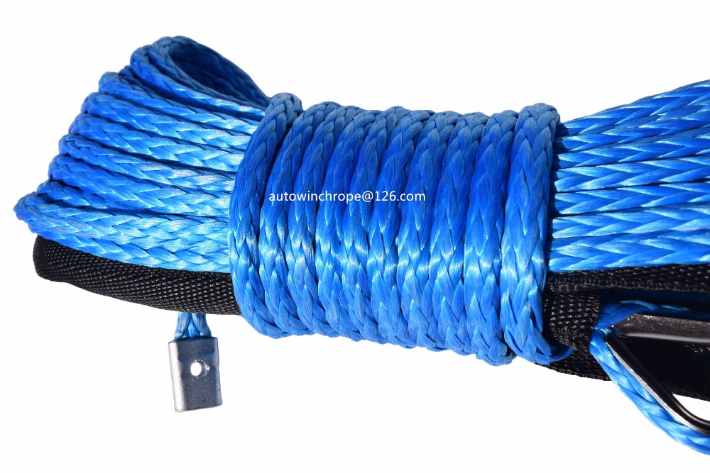 Blue 6mm*15m Synthetic Winch Cable Rope,1/4 UHMWPE Rope for Auto Parts,Kevlar Winch Cable