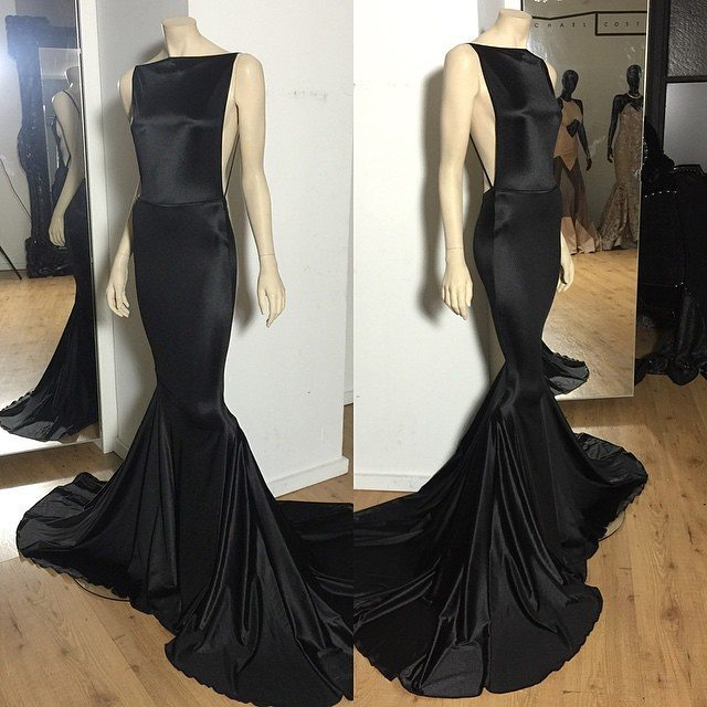 Elegant Long Prom Dress Real Sample Boat Neck Backless Black Mermaid Satin Prom Dresses 2019 With Train