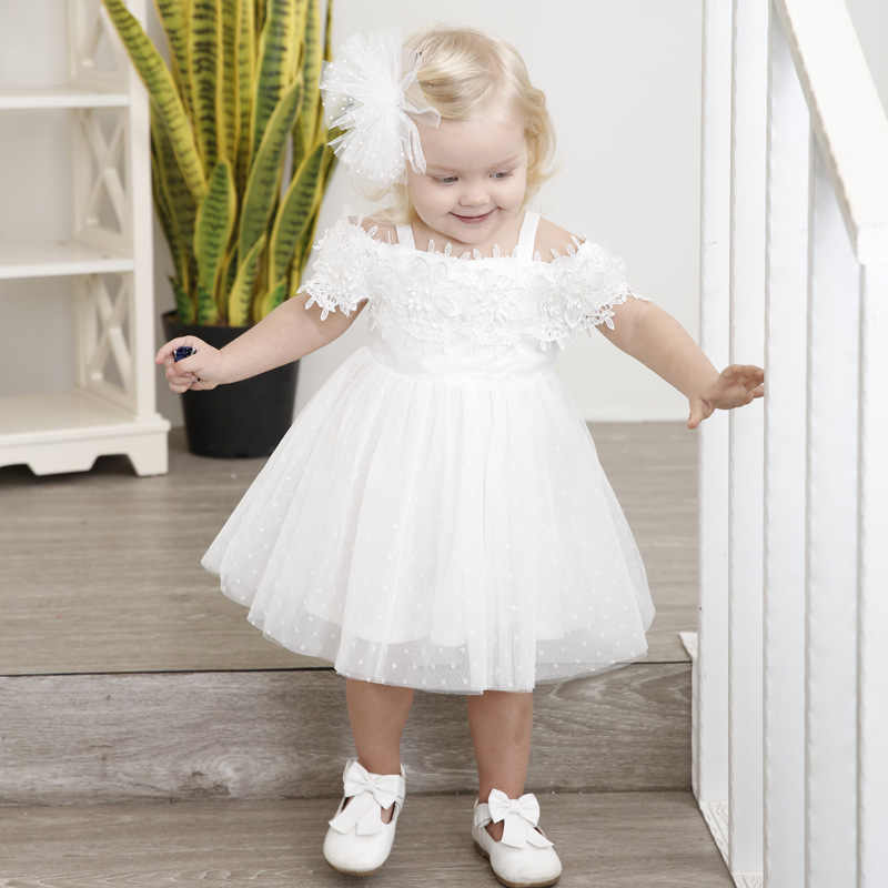 65c1ac1cee Girls Dress 2018 Fashion Beautiful Princess Baby Clothing Lace White Toddler  Girls Party Dresses For 1