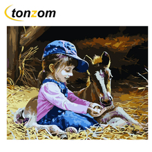 RIHE Girl With Horse Diy Painting By Numbers Straw Oil On Canvas Hand Painted Cuadros Decoracion Acrylic Paint Art