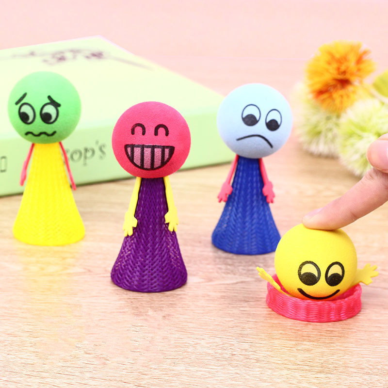 5 Pcs/set Kawaii  Bounce Ball Toys Funny Hip Hop Expressions Push&Down Elf Villain Doll Children Educational Kids Toy Game Gifts