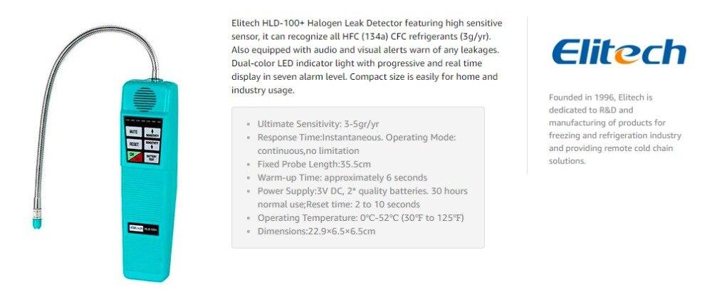 Corona Refrigerant Halogen Leak Detector R410a R134a HVAC Freon Elitech HLD-100