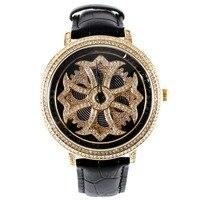 Матисса повелительница полный кристалл вращающийся диск Buiness кварцевые часы наручные часы черный