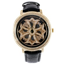 MATISSE Fashion Lady Full Crystal Rotatable Dial Buiness Quartz Watch Wristwatch – Black