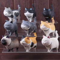 Japanese Cat Figure Toy Cute Cats Neko PVC Animal Figures Toys Set Decoration Home Dolls 9pcs/set