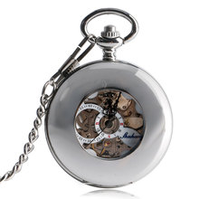 Silver Automatic Mechanical Chain Skeleton Pocket Watch Exquisite Self Wind Fob Stylish Gift Luxury Smooth Case Steampunk Watch