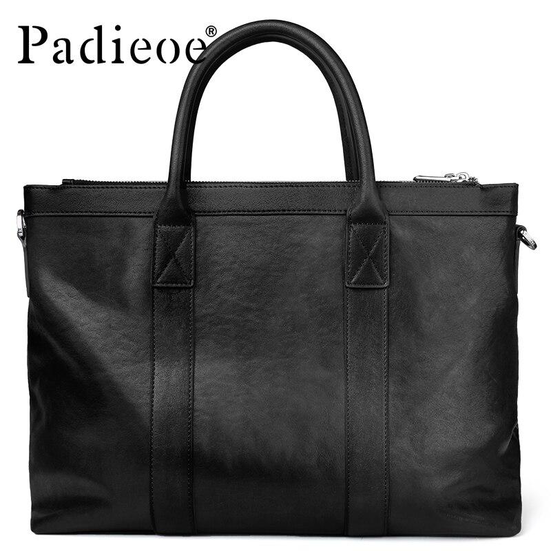 Padieoe Briefcase Large-Capacity Tote-Bag Portfolio-Top Genuine-Cow-Leather Men's Luxury