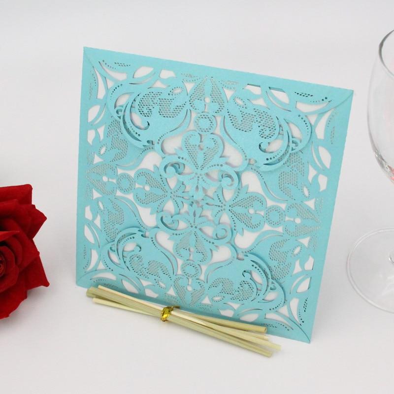 Businessman birthday invitation card decoration 15X15cm creative hollow laser cutting romantic wedding supplies 10Pcs / 8ZH02