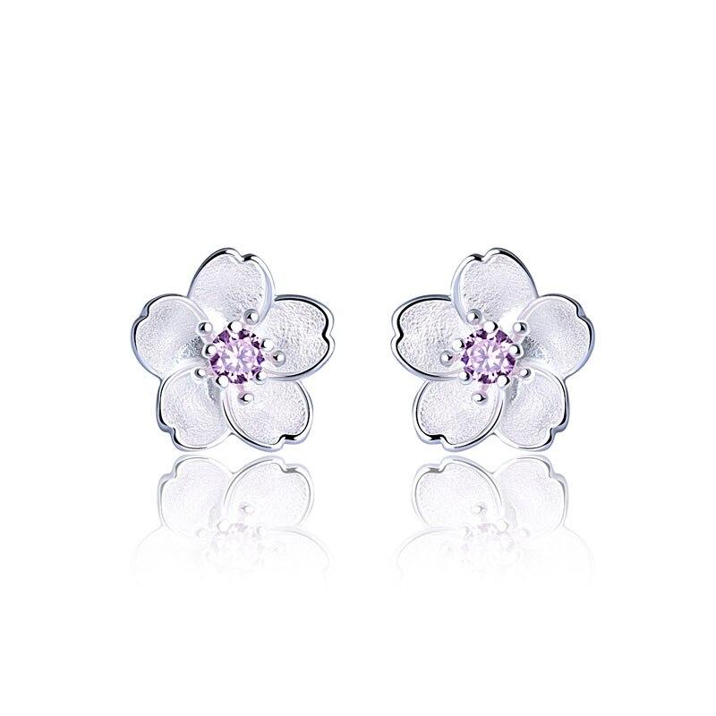 Buy 100% 925 Sterling-silver-jewelry Branches Sakura Earrings Sweet Simple Flower Earring Women Stud Earrings for Women Gifts for $4.74 in AliExpress store