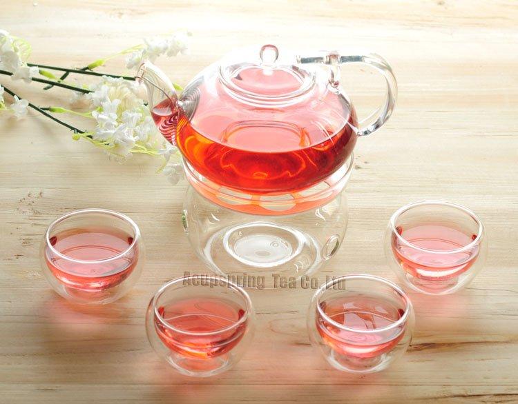 500ml <font><b>Glass</b></font> Coffee Pot / Teapot+ 4 Double-wall Cup + Warmer, Good Gift, B184D, Free Shipping