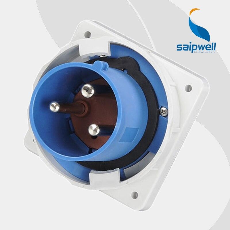 125A 230 V 3 P (2 P + E) résistant aux intempéries prise mâle électrique industrielle étanche aux éclaboussures IP67 EN/IEC 60309-2 type SP3665