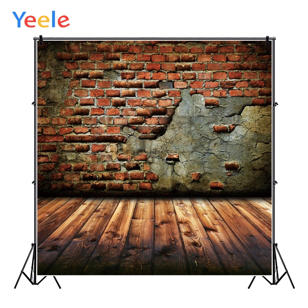 Yeele Photophone Old Brown Brick Wall Wooden Planks Baby Photographic Backdrops Custom Photography Backgrounds For Photo Studio