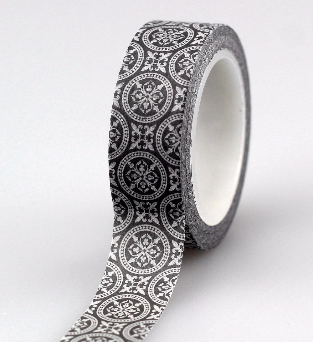 High Quality The Black Circle Geometry Style Decorative Washi Tape Japanese DIY Scrapbooking Masking Tape School Office Supply