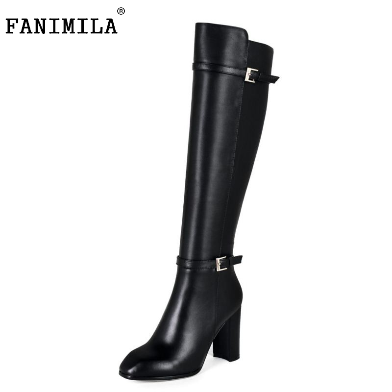 Women Real Leather Over Knee Boots Winter Snow Boots Sexy High Heel Fashion Zip Women Riding Black Boots Women Shoes Size 34-39 woman real leather boots 2015 new winter boots black apricot zipper fashion martin boots 34 39 comfortable women knee high boots