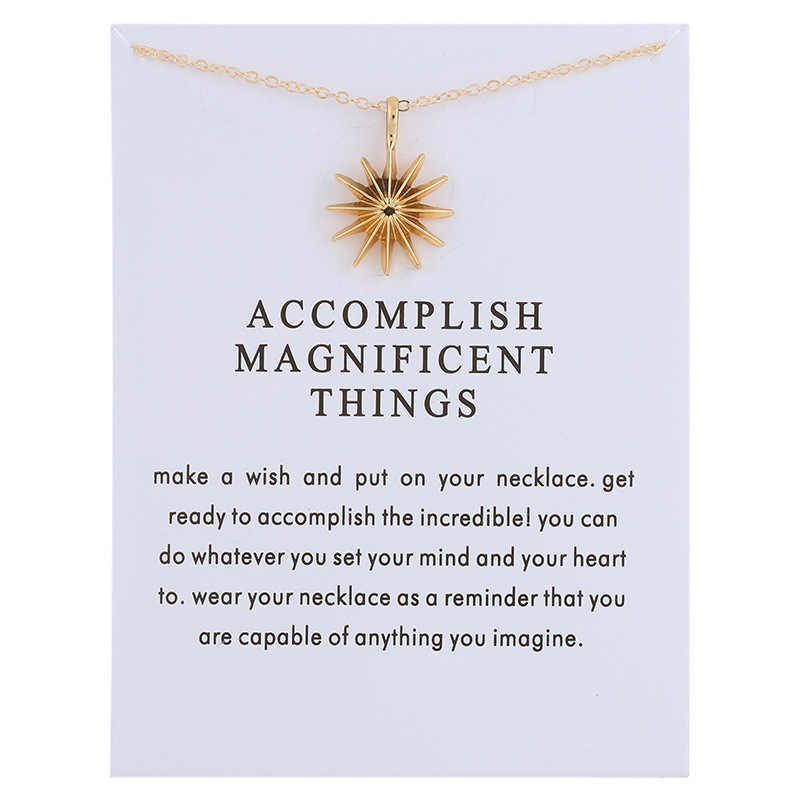 Fashion Accomplish Magnificent Things New Arrived Sun Light Alloy Pendant Chocker Necklace Jewelry For Women