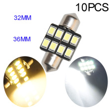10pcs Bright 8-2835-SMD White Warm Dome Festoon LED Map Reading Light Bulbs 6411 1.25 31MM 1.50 36MM