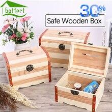 Lettering Wooden Box with Lock Money Storage Case Piggy Bank Jewelry Organizer Secret boite de rangement maquillage