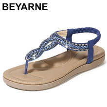 BEYARNEGladiator Thong Sandals 2019 Women Summer Platform Flats Faux Rhinestone Slip On Solid Creepers Casual ShoesE667