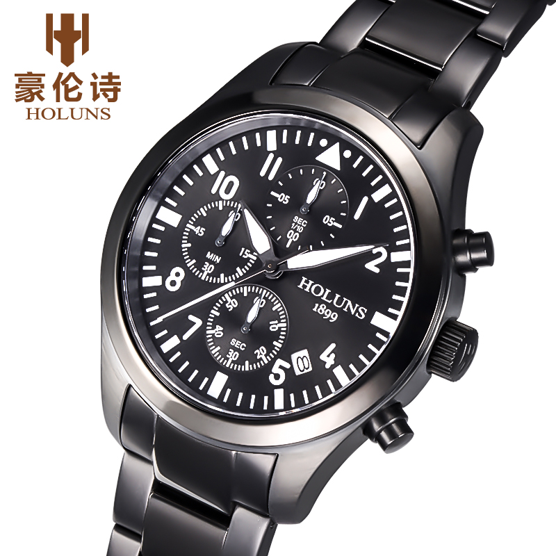 HOLUNS Brand Watch Men Pilot Clock 1/10 Seconds Chronograph Stainless Steel Military Watch Male Sport Wrist-Watch gt watch uas flag f1 racing champion sport extreme men s military pilot uhren american inspired novelties silicone watch