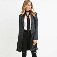 Uzun Ofis Bahar Moda Polyester Ceket Kadınlar 2017 Uzun Kollu Zarif Düğmeleri Mont Moda Ince Üst Kadın Giysileri 50X0020