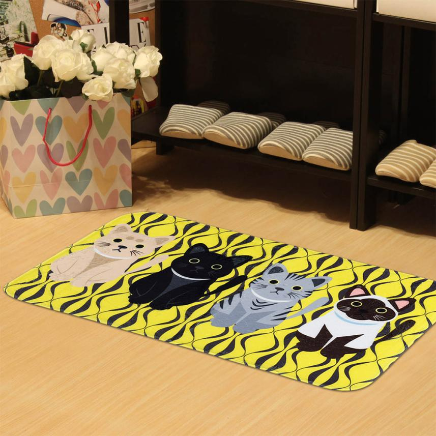 Bathroom mat 2018 New Fashion Kitchen Dining Bar Printed Rugs Doormats Cat Carpet For Living Room Non-slip Mats lovely Apr23