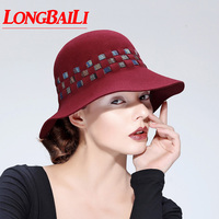 Winter Fashion Wool Felt Fedora Hats For Women Ladies Dress Church Cloche Hats Female Chapeau Free Shipping PWFE059