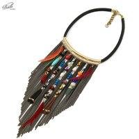 Badu Black PU Leather Short Necklace Women Vintage Style Chain Tassel Bohemian Beads Pendant Necklaces Winter