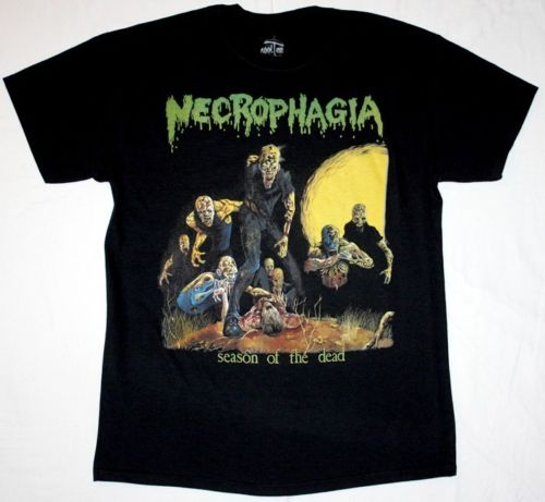 NECROPHAGIA SEASON OF THE DEAD'87 DEATH POSSESSED MORBID ANGEL NEW BLACK T-SHIRT
