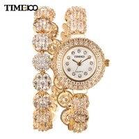 New Arrival TIME100 Luxury Women Long Golden Copper Strap Rhinestone Waterproof Diamond Quartz Dress Bracelet Watches