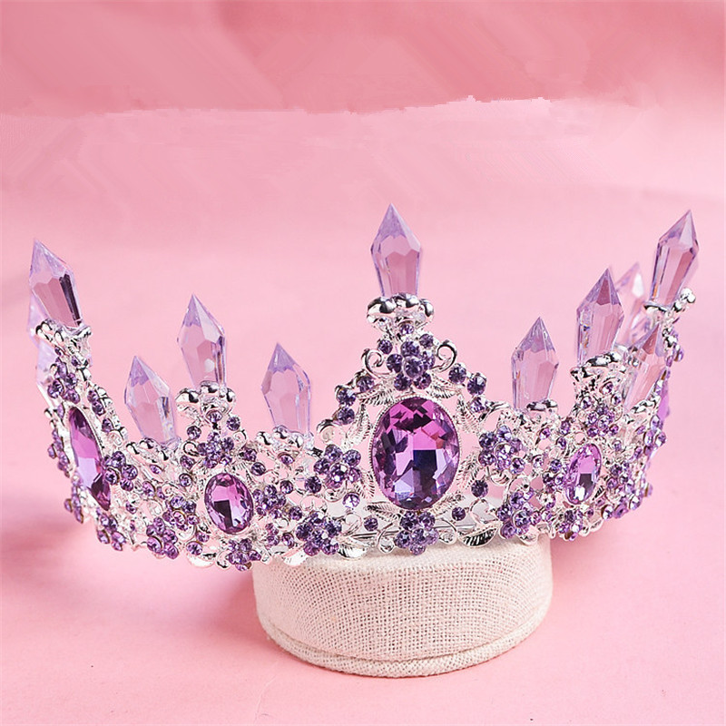 CR179 Hot sale New Fashion Elegant Purple Crystal Bridal crown classic Gold Tiaras for Women Wedding