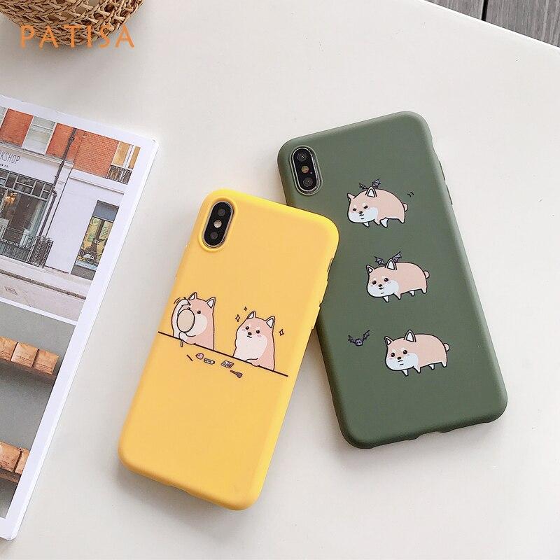 Cartoon bat Dog Makeup Shiba Inu Phone Case For iPhone X XS Max XR Funny Pattern Cases 8 7 6 6S Plus Soft TPU Cover