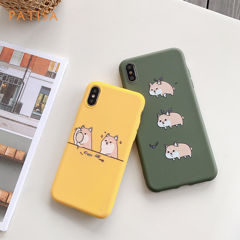 Cartoon bat Dog <font><b>Makeup</b></font> Shiba Inu Phone <font><b>Case</b></font> For <font><b>iPhone</b></font> X XS Max XR Funny Pattern <font><b>Cases</b></font> For <font><b>iPhone</b></font> 8 7 6 <font><b>6S</b></font> <font><b>Plus</b></font> Soft TPU Cover image