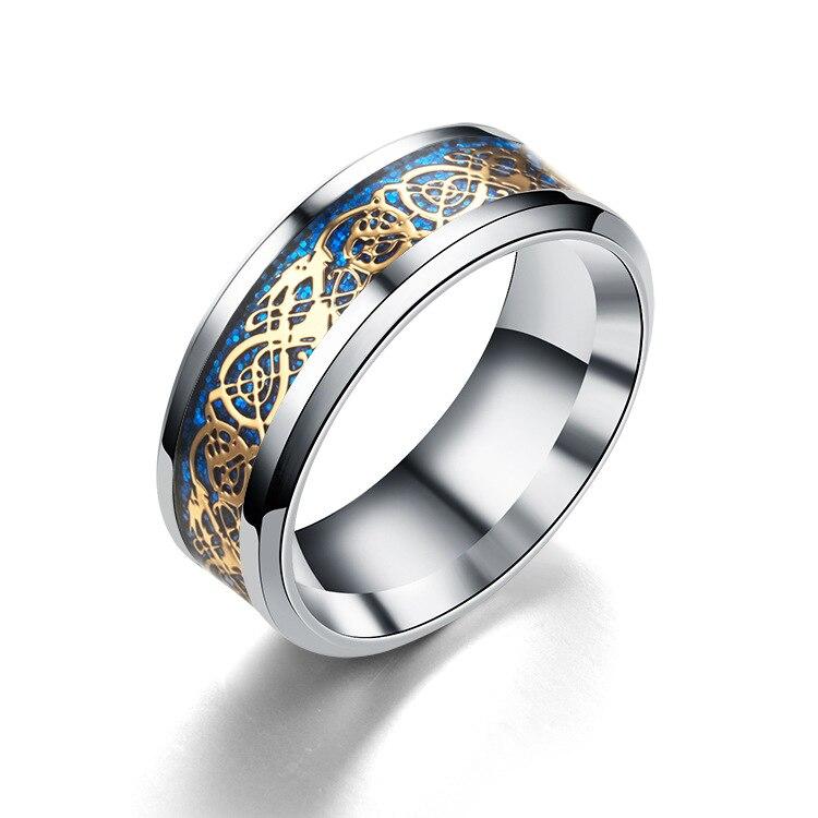 Men 39 s titanium steel rings dragon pattern valentine 39 s for Dragon gifts for men