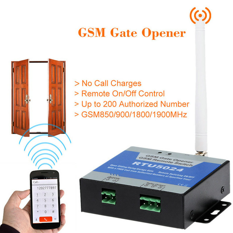 RTU5024 GSM Gate Door Opener GSM Relay Remote On/Off Switch Access Control Free Call Home Security App Support For Free Shipping 315 433mhz 12v 2ch remote control light on off switch 3transmitter 1receiver momentary toggle latched with relay indicator