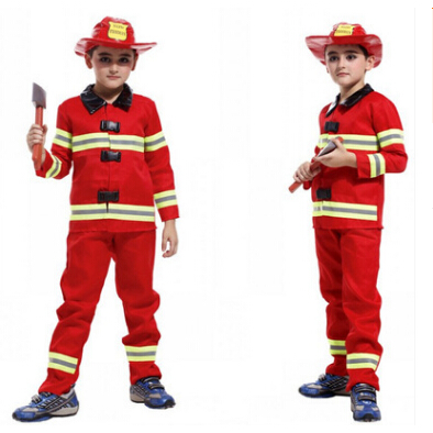 free shipping Halloween costume firefighters boys cosplay costume color as show  M-XL
