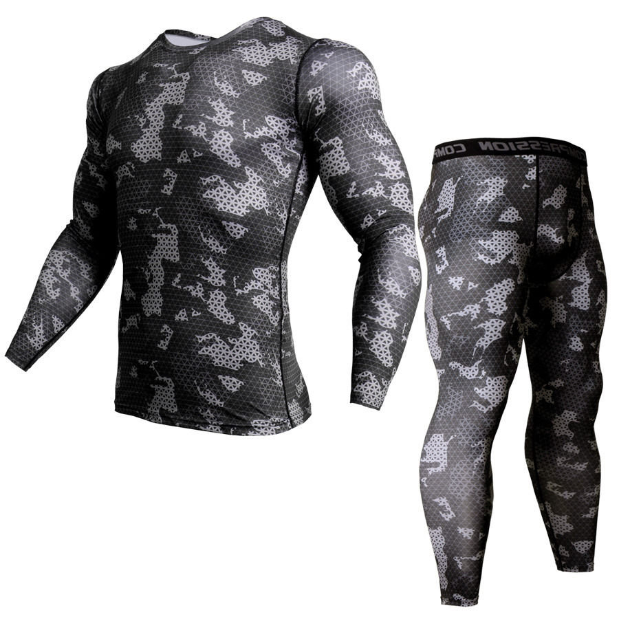 Men Compression Shirt Pants 2Pcs/Sets Tracksuit Camouflage Long Sleeve Tshirt Leggings Mens Fitness Sets Bodybuilding Sportswear