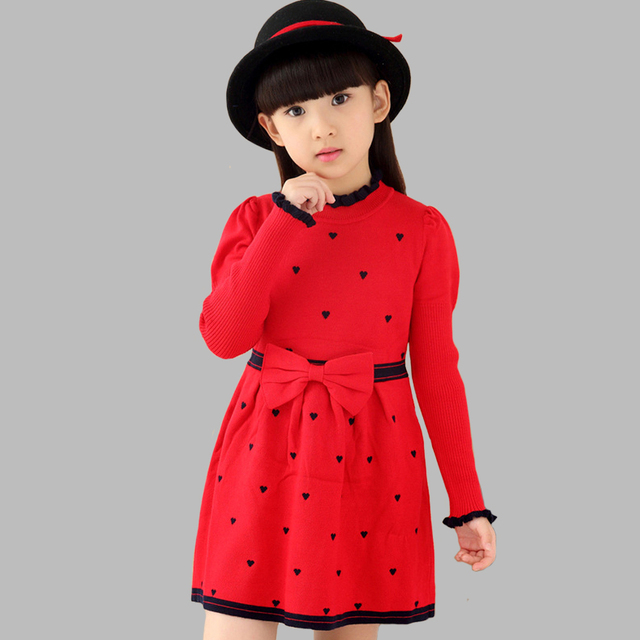 bf1a11ea2da Girls Dresses Long Sweater Dresses For Girls Spring Autumn Teenage Party  Dresses 2 4 6 8 9 10 12 14 Years Girls Clothes