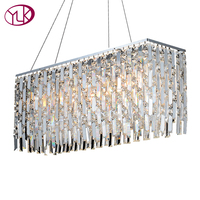 Free Shipping L120 W30 H70cm Large Rectangle Design Luxury Modern Crystal Chandelier Lusters De Cristal Dining