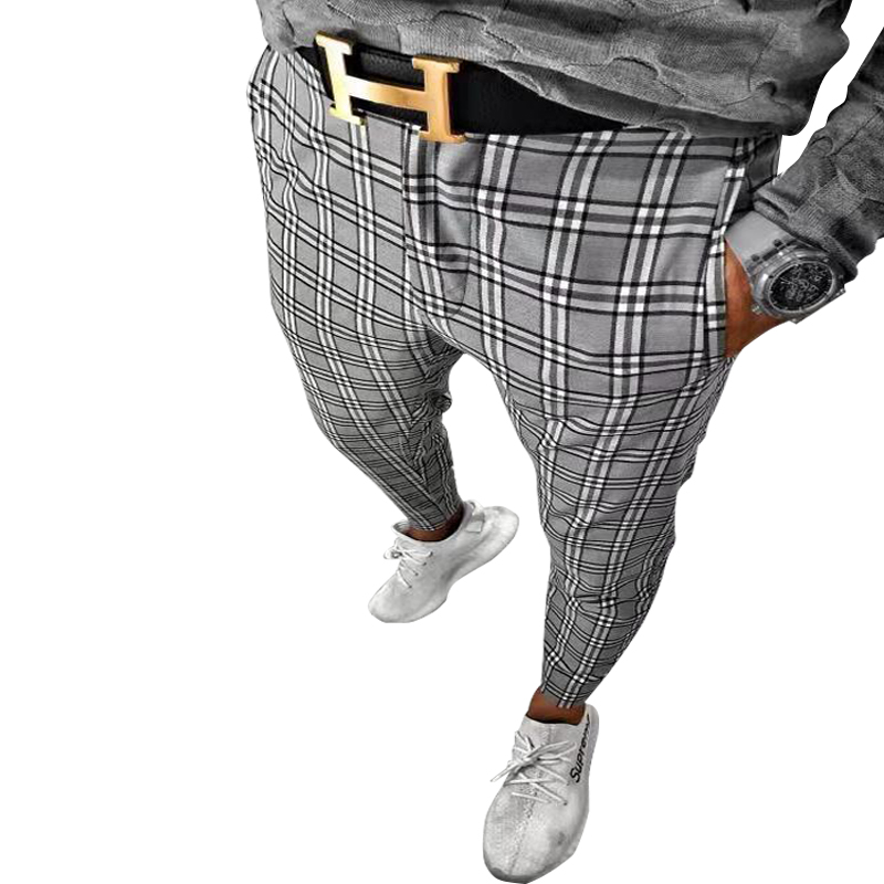 2019 hot sale large size Suit pants plaid color matching small feet style Original design stitching craft casual pants