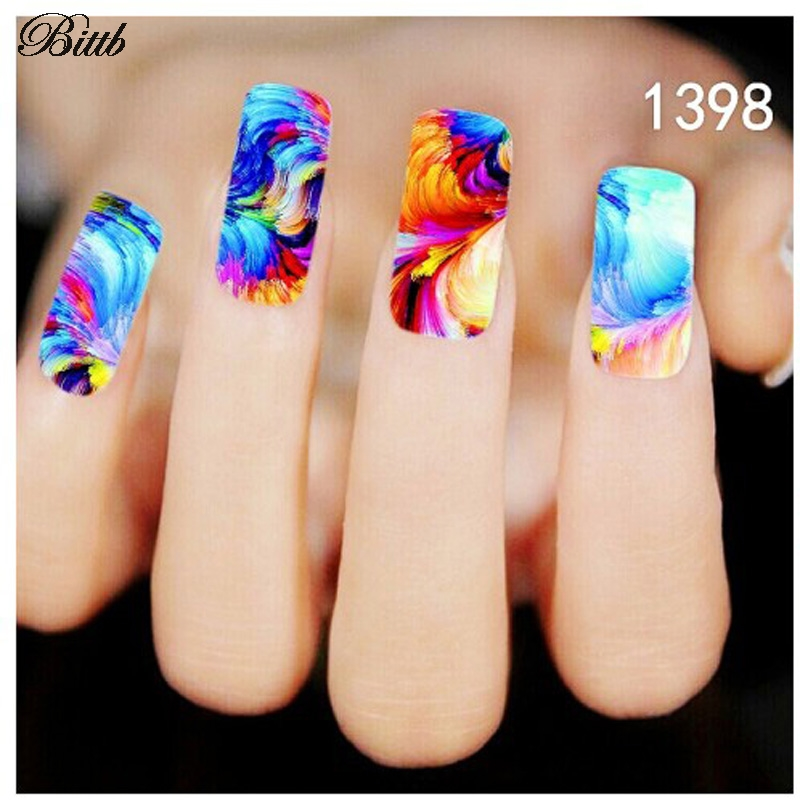 Bittb 2pcs Colorful Painting Design Water Transfer Nail Stickers ...