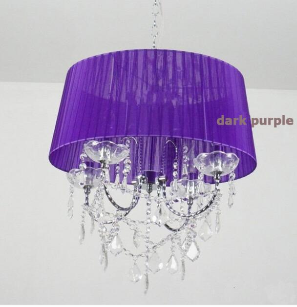 Осветительная лампа, подвесные светильники, светодиодная Хрустальная спальня, благородная Роскошная лампа, дымоход e14, лампа, стеклянная основа, светодиодная лампа, модный абажур XU - Цвет корпуса: dark purple