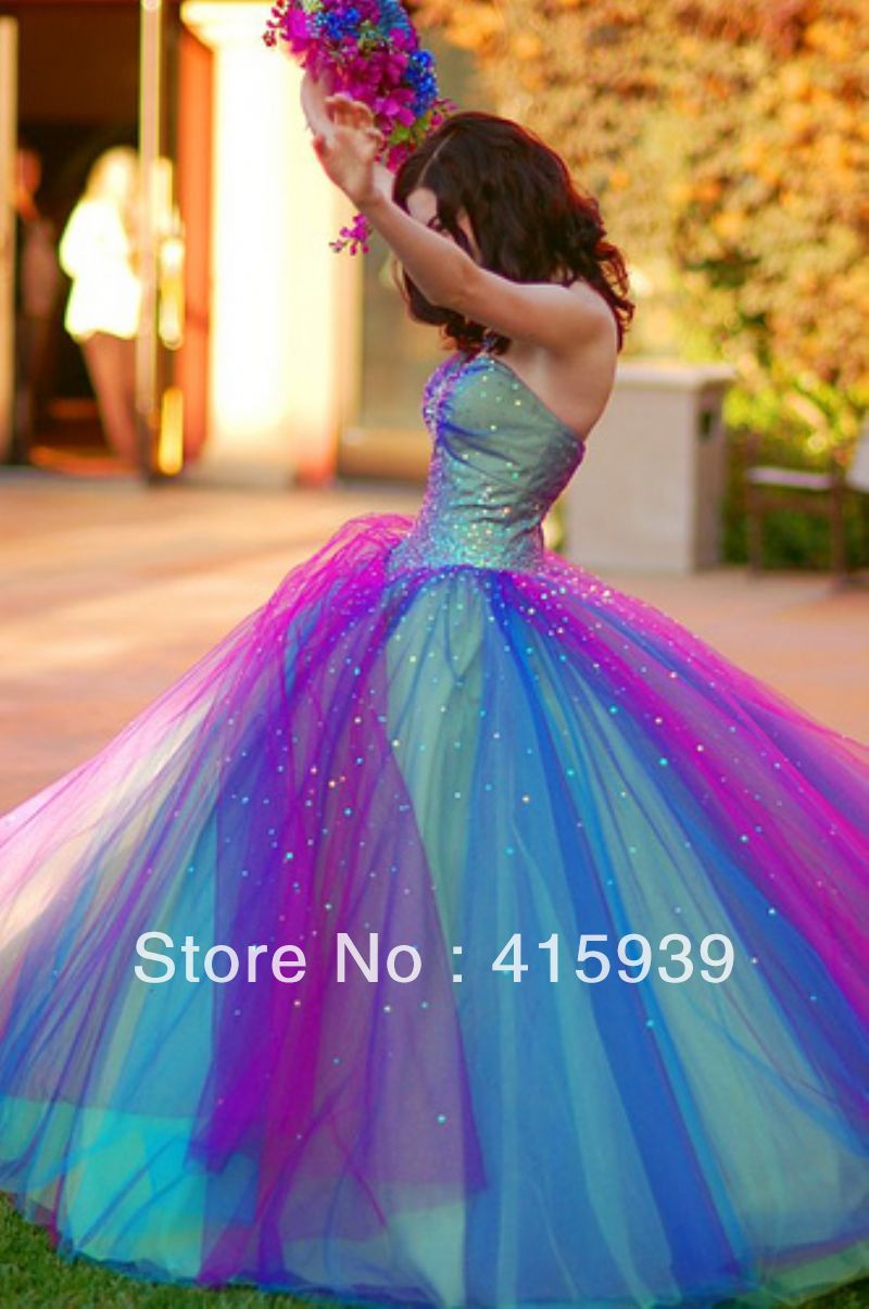 Promotion New Arrival Glitter Colorful Rainbow Sweetheart Tulle Long Prom Dress Women Free Shipping WH351